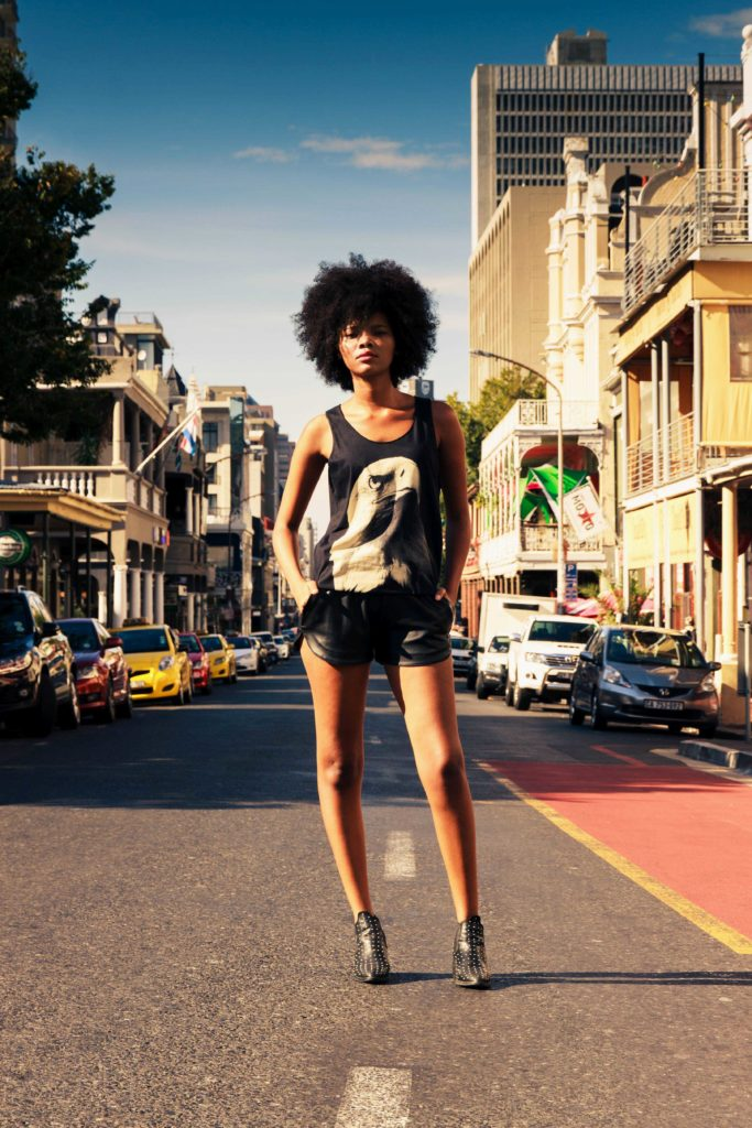 African Woman with Eagle Shirt in Cape Town on Long Street Fashion Photography